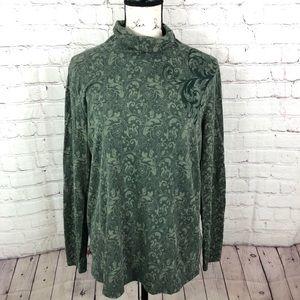 Soft Surroundings Green Floral turtleneck top
